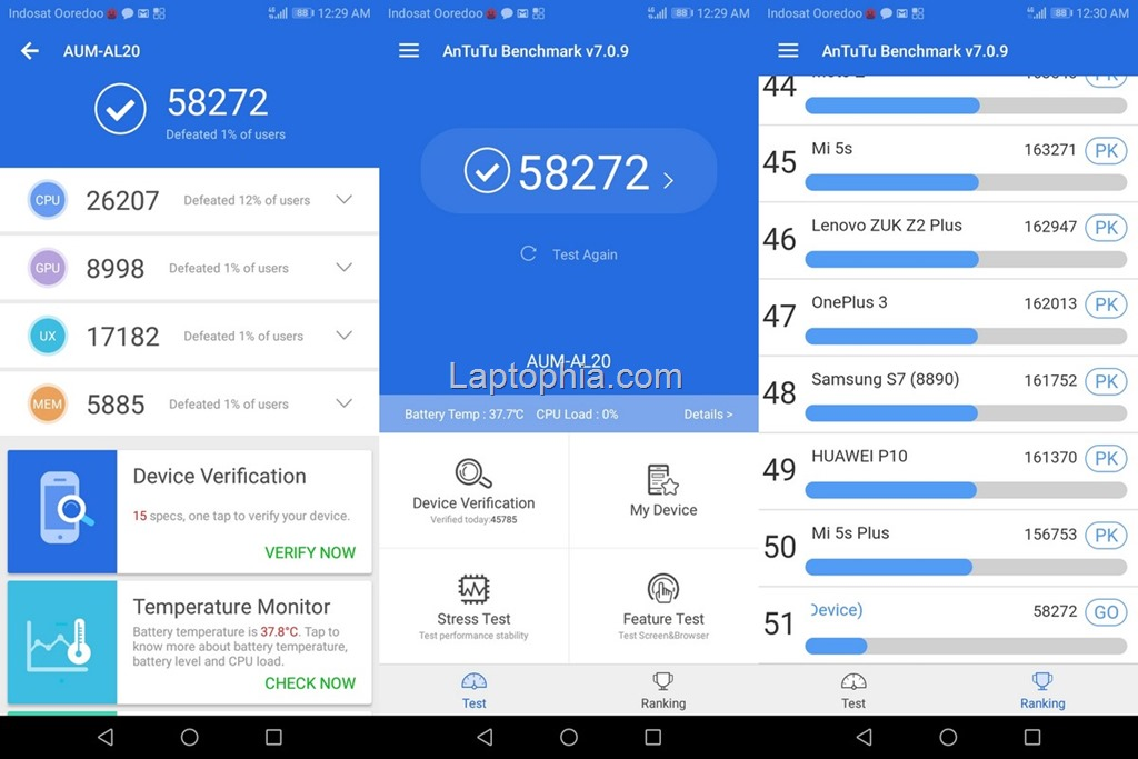Benchmark AnTuTu v7 Honor 7A