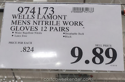 Deal for 12 pairs of Wells Lamont Men's Nitrile Work Gloves at Costco