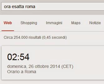 """Immagine con il risultato su Google se cerchiamo """"ora esatta roma""""."""