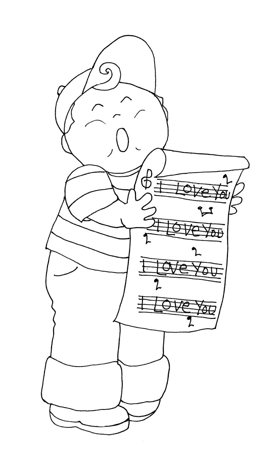 Free Dearie Dolls Digi Stamps Vintage Style Valentine Singing Boy