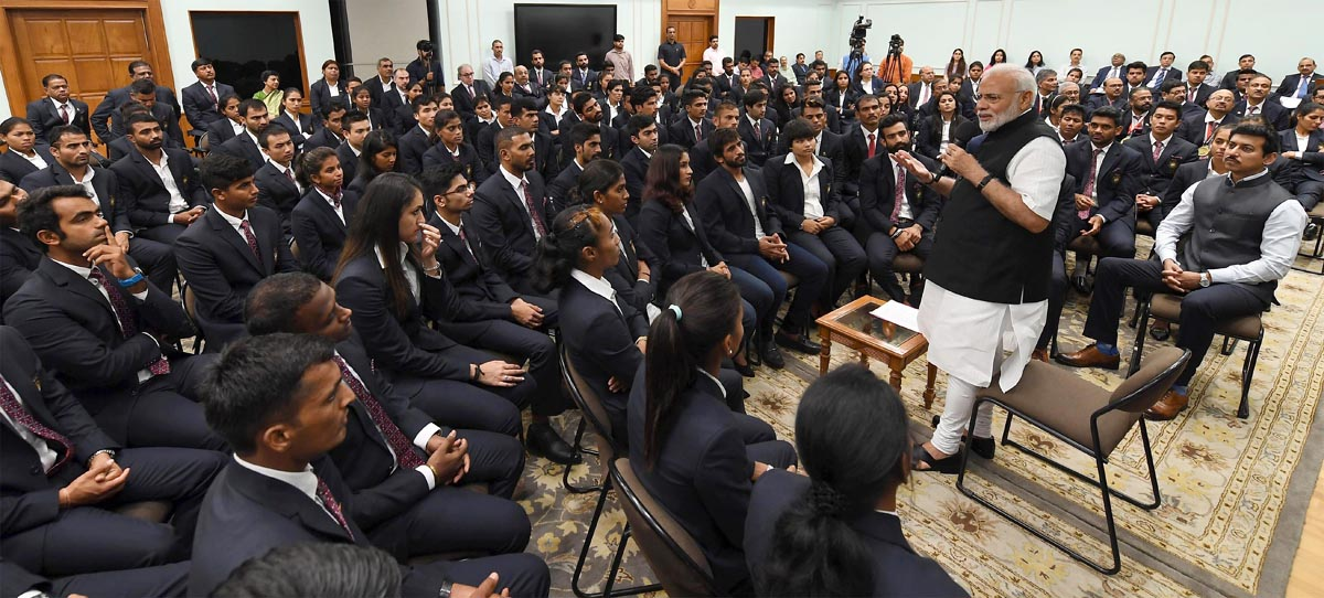 The Prime Minister, Narendra Modi interacting with the Medal Winners of the Asian Games-2018, in New Delhi on September 05, 2018