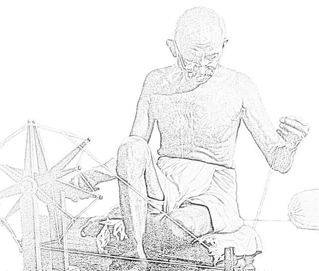sketch of Mahatma Gandhi at the spinning wheel