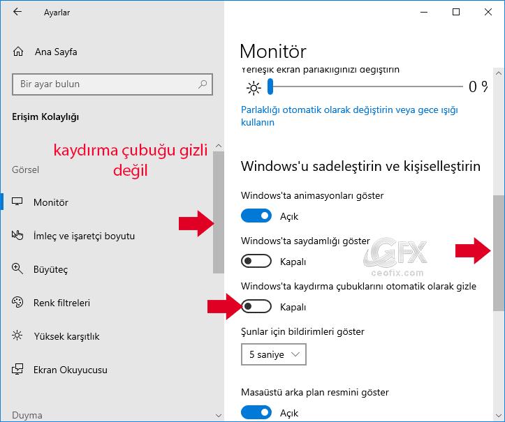 Windows'ta kaydırma çubuklarını otomatik olarak gizle-www.ceofix.com