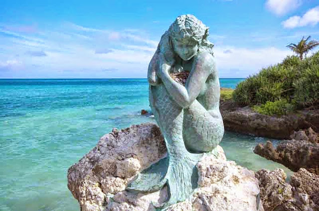 mermaid statue, beach