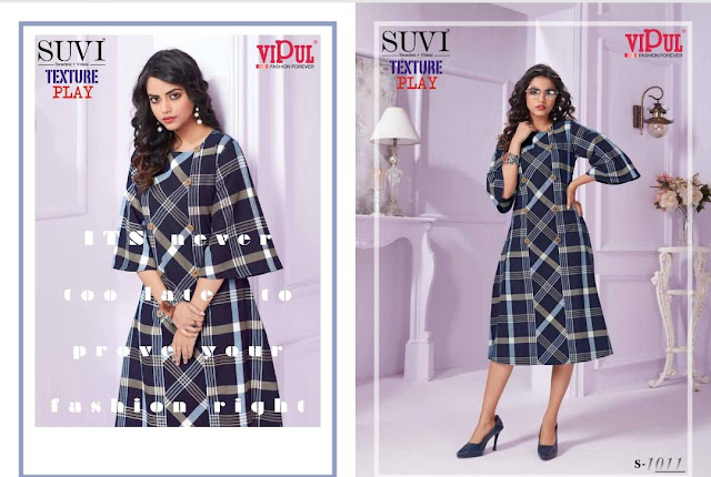 Vipul Suvi texture play Cotton Western Party wear kurtis