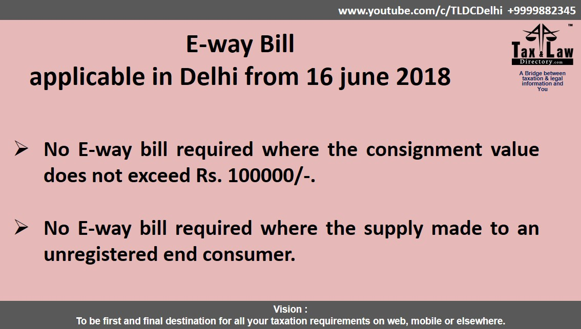 Tax and Law Directory (Solution of all your taxation needs) E-Way Bill
