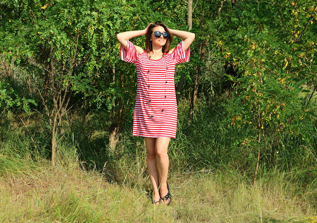 Cold Shoulder Striped T-Shirt Dress