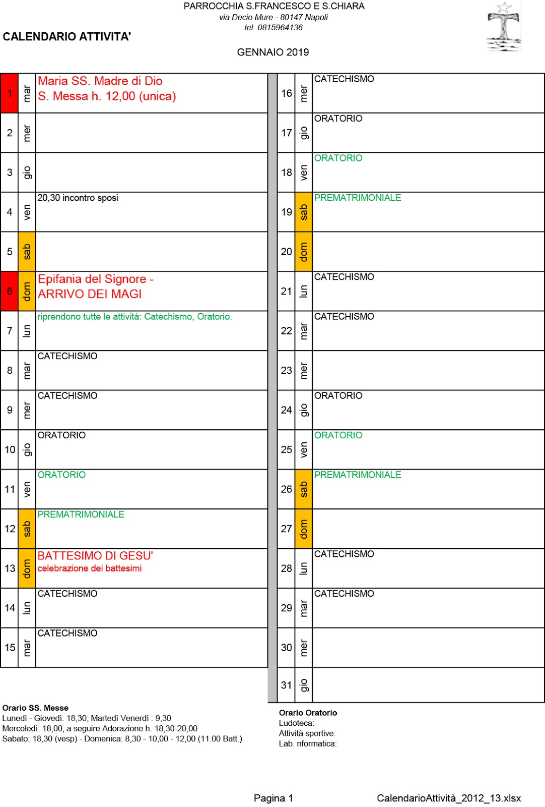 Calendario Gennaio.San Francesco E Santa Chiara Calendario Gennaio 2019
