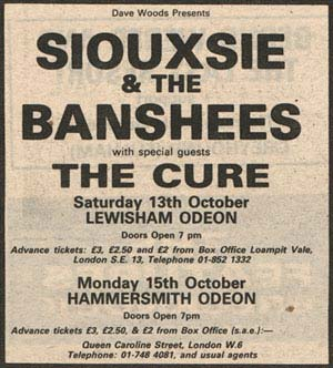 Transpontine: Siouxsie and the Banshees +The Cure at Lewisham Odeon