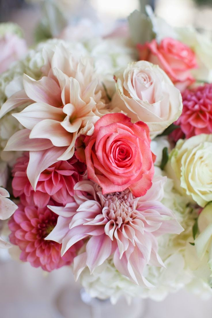 wedding bouquet with pink roses and dahlias