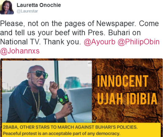 Come and tell us your beef with Buhari - Presidency slams 2baba over protest