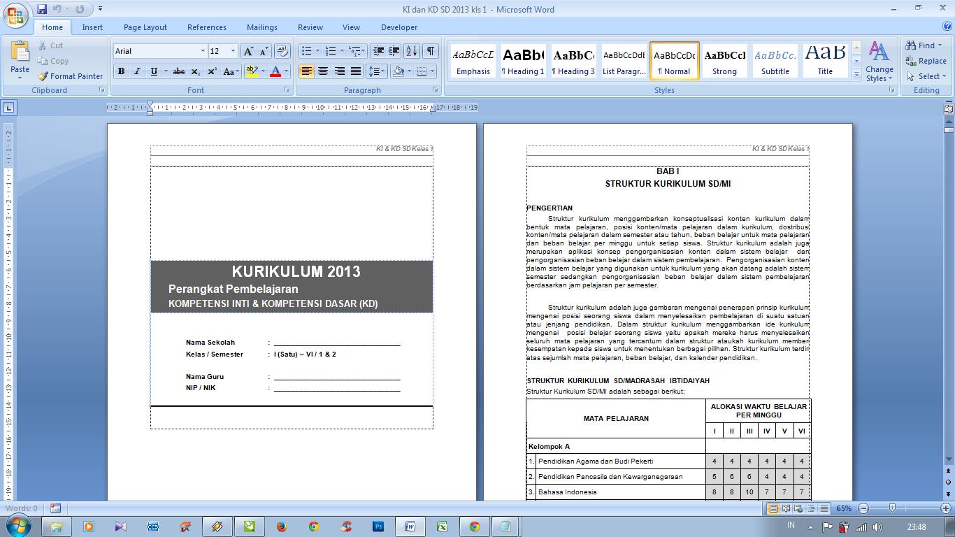 Download Ki Dan Kd Sd Kurikulum 2013 Lengkap File Terbaru