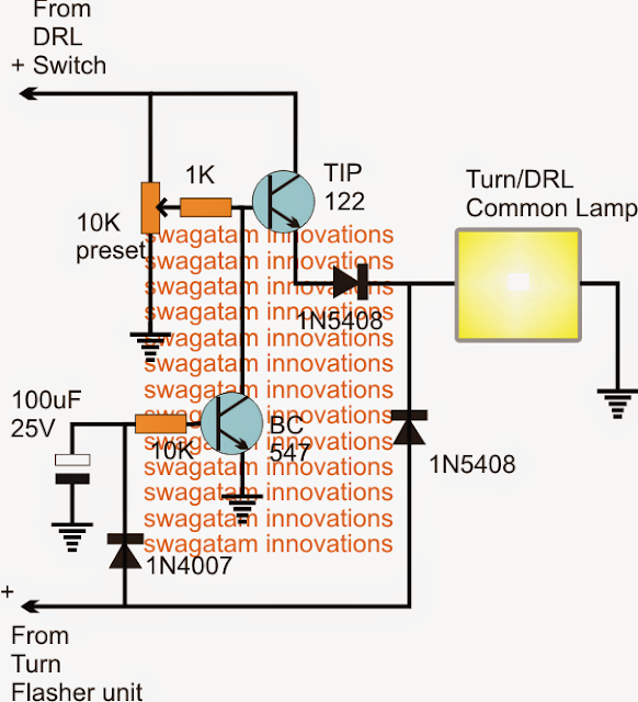 Illuminating DRL and Turn Lights with Single Common Lamp