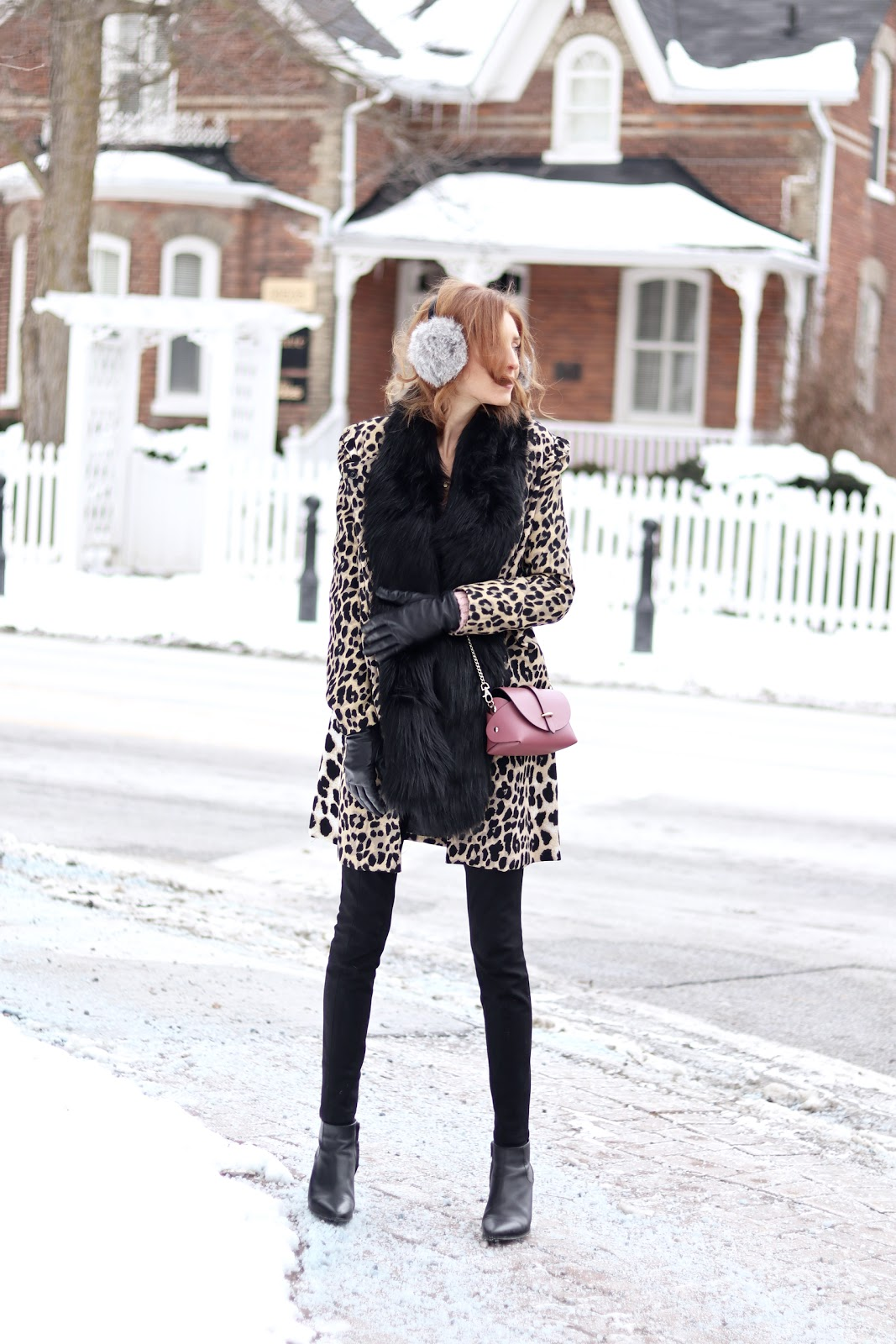 How to Wear Colour and Patterns in Winter- pink LOFT sweater, Leopard over coat, grey earmuffs, Topshop black boots