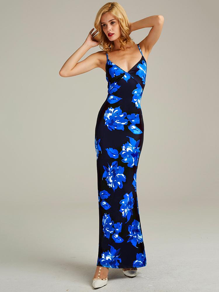 Floral Open Back Maxi Dress
