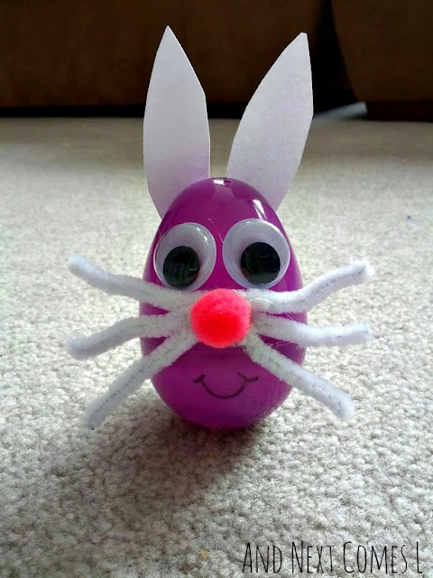 Cute bunny craft for kids using wobbly Easter eggs from And Next Comes L
