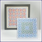 Modern geometric stars and 3D shapes repeat stitching on card paper pricking embroidery pattern for framed wall art picture making.