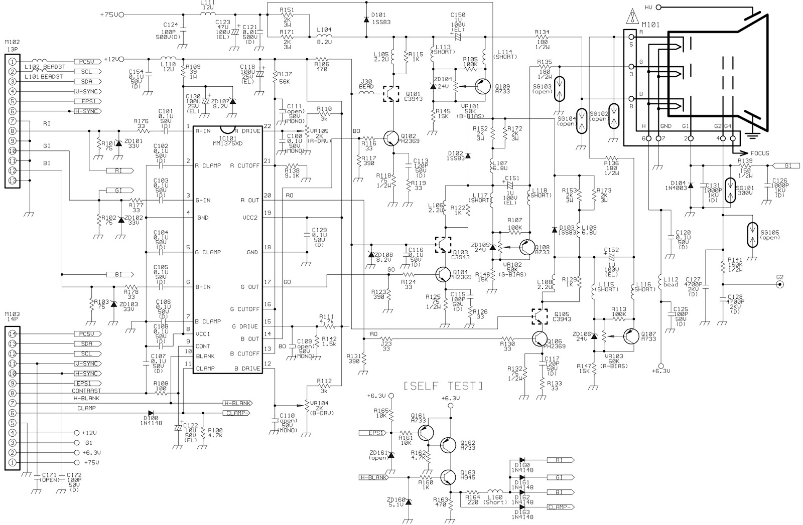 crt monitor circuit diagram