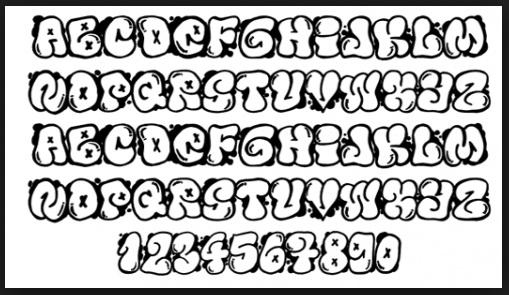 graffiti bubble font letters a z