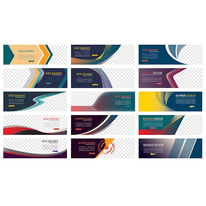 Corporate banners collection modern dynamic multicolored decor Free vector