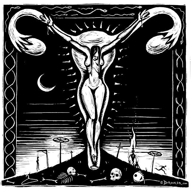 Crucifixion by Eric Drooker - Kvinde korsfæstet på livmoder, og andre henrettelser
