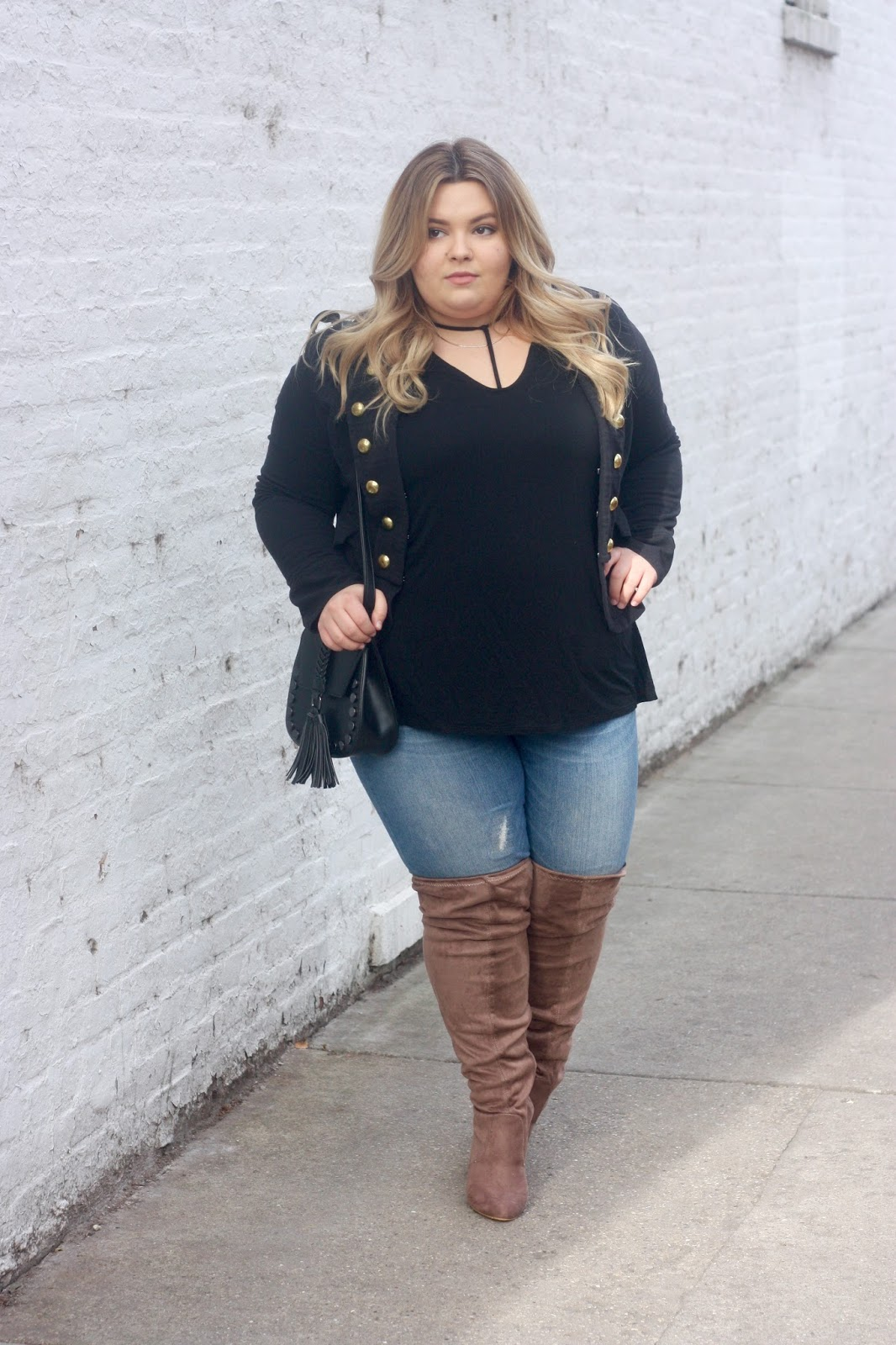 natalie craig, natalie in the city, plus size fashion, military style jacket, thigh high wide calf boots, knee high wide calf boots, faux suede boots, plus size blogger, mossimo target denim, ootd, chicago blogger, midwest, street style