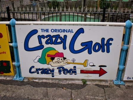 The sign on the prom for 'The Original Crazy Golf' on South Parade in Skegness