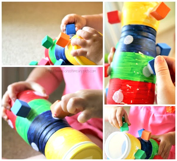 sorting and pulling velcro blocks toddler fine motor skills