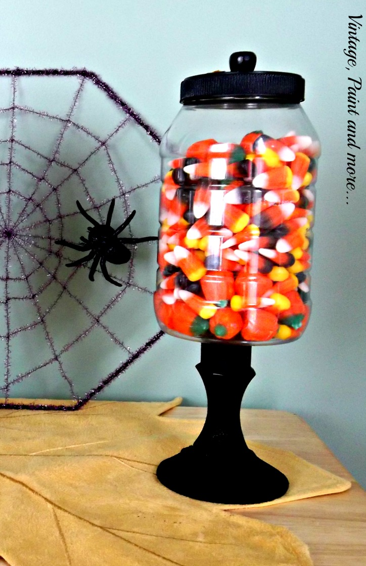 Vintage, Paint and more... Halloween candy jars made from recycled jars and dollar store candle sticks