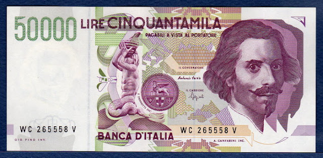 Currency in Italy 50000 lire banknote
