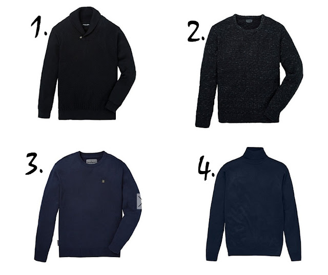 blue jumpers on white background