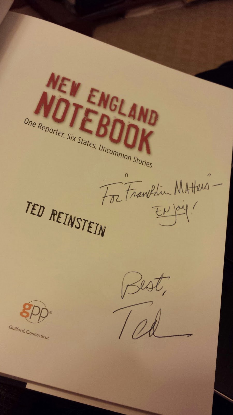 my signed copy of New England Notebook