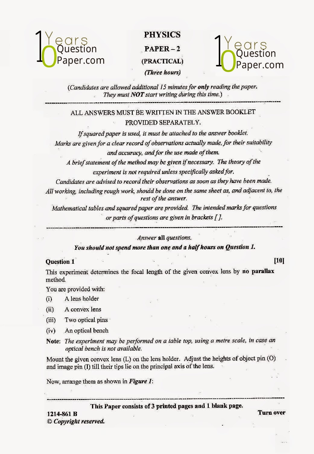isc 2014 class 12th Physics Practical question paper