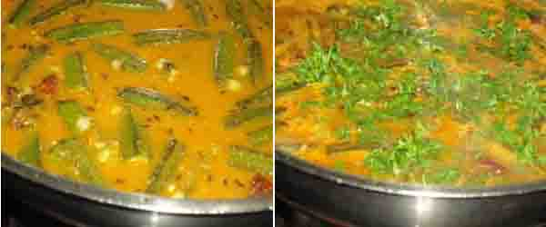boil the sambar and add cilantro