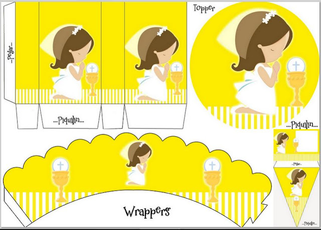 Girl´s First Communion: Free Printable Kit in Yellow.