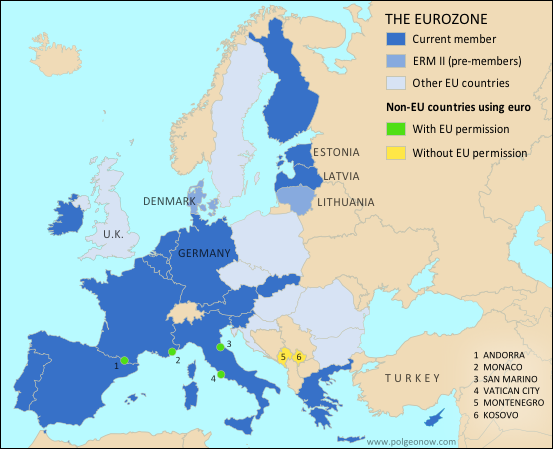 Map of the Eurozone (euro area), showing which countries use the euro as their currency. Includes members, pre-members (ERM II), EU non-members using the euro, and other EU countries (colorblind accessible).