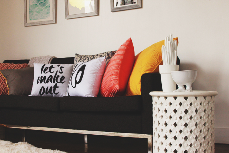 throw pillows, pillows with words on them, modern couch