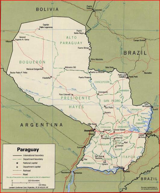 Gambar Peta politik Paraguay