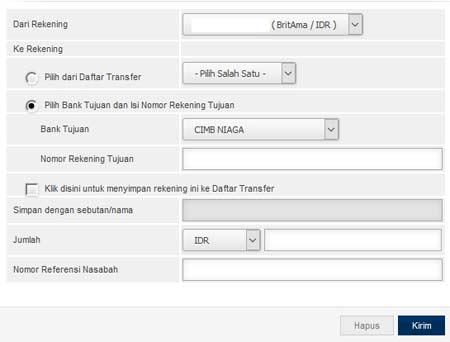 Cara Transfer Dari BRI ke Rekening CIMB Niaga