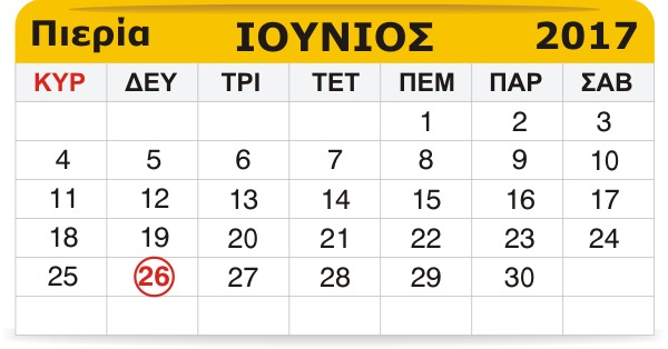 Γιορτάζουν σήμερα 26 Ιουνίου