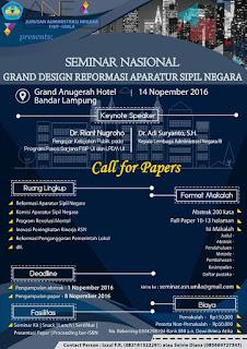Seminar Nasional dan Call For Papers dari Jurusan Adminitrasi Negara Unila