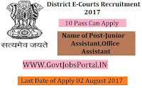 District E-Courts Recruitment 2017–86 Junior Assistant, Office Assistant