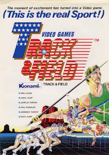 Flyer del Track & Field de Konami, 1983, Arcade. El cartel muestra unos atletas, una lanzador de jabalina y el texto