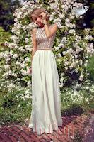 Rochie lunga eleganta crem cu bustul din paiete bej