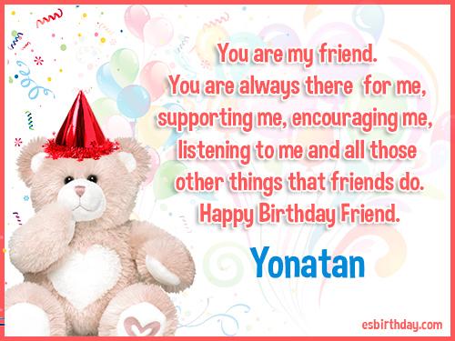 Yonatan Happy birthday friends always