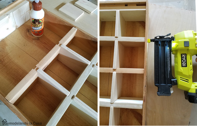 gorilla glue and Ryobi air strike nailer help secure the joints