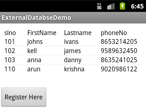 Android External database : Using database in