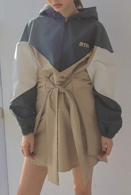 Self-Tie Waist Zip-Up Hoodie Dress