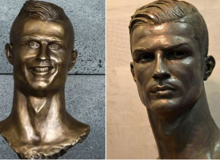 Christiano Ronaldo gets a new sculpture which represents him better than the former design