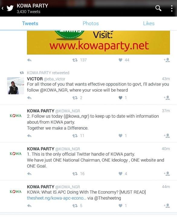 Looks like KOWA party is trolling PDP